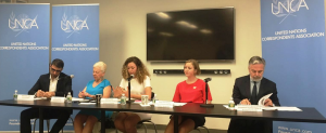 Fatima Sator (middle left) and Elise Luhr Dietrichson (middle right) presenting their research on gender equality at the UN