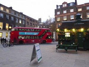 Bus passing in Russell Square