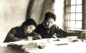 Young Jiang Qing and Mao in Yan'an in 1930s.