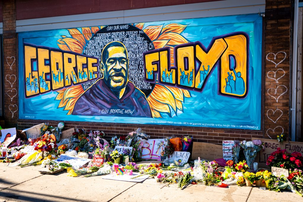 George Floyd tribute Minneapolis flowers