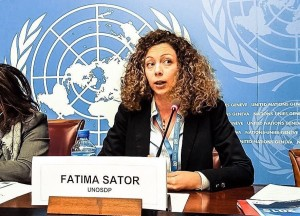 SOAS student Fatima Sator presenting at the UN