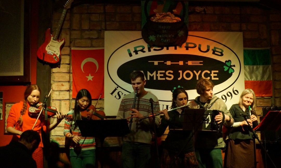 Ceilidh Band on stage at James Joyce pub