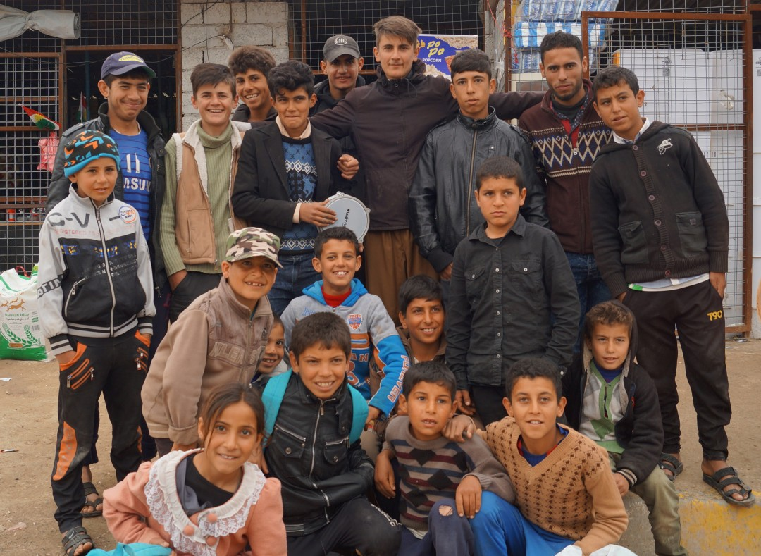 Young Kurdish singer and friends: Dibaga camp