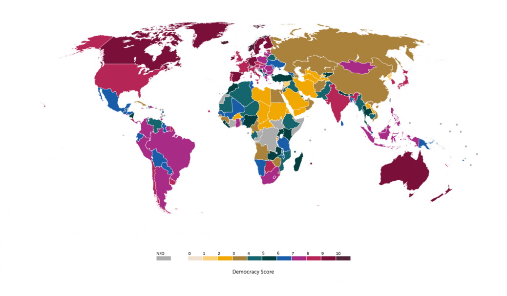 A map showing democracy scores for world countries