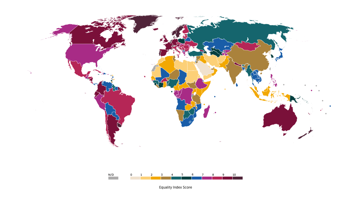 Map showing equality score in different countries