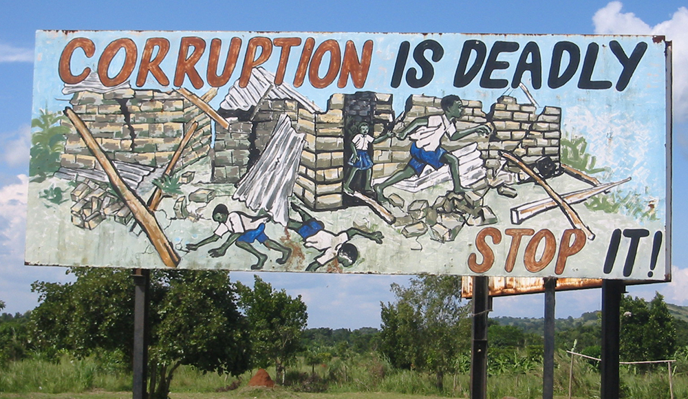 Anti corruption sign in Uganda