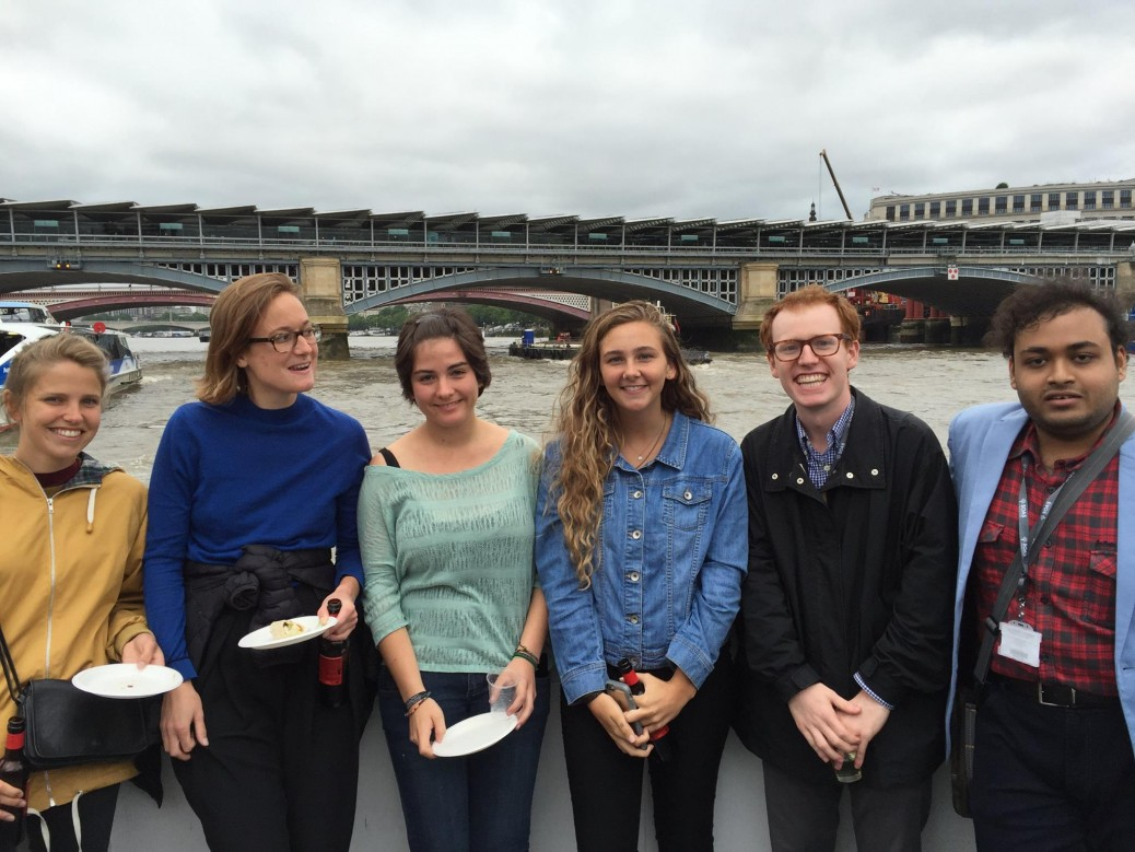 Carson Conlon enjoying a Thames boat cruise on the Summer School Welcome Day