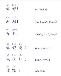 First words in Mandarin Chinese