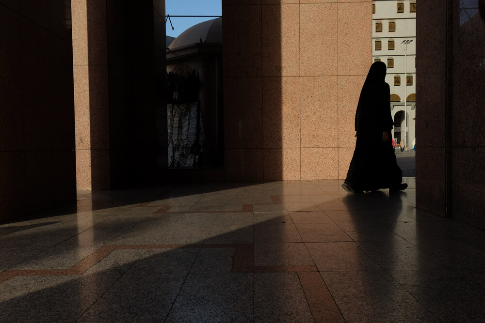 Women wearing abaya leaving for a prayer at Nabawi Mosque, Medina, Saudi Arabia