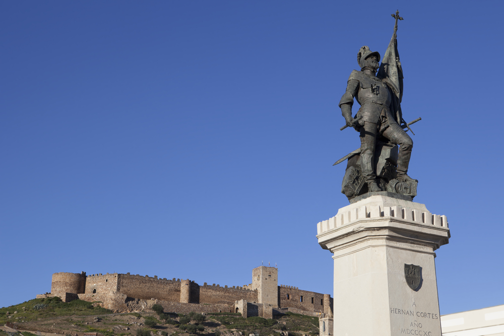 Statue of Hernan Cortes and Medellin Castle, Spain