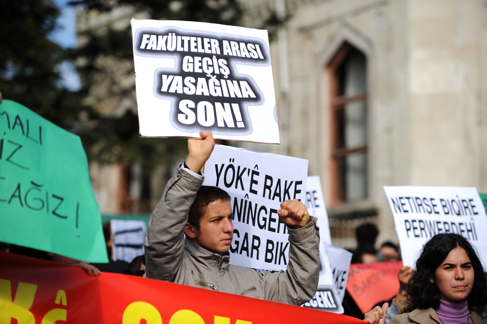 Young students protested the education system on June 11, 2009 in Istanbul,Turkey