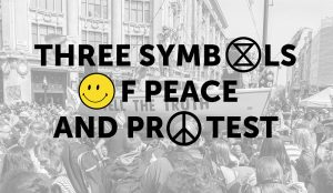 Three symbols for peace and protest - extinction symbol