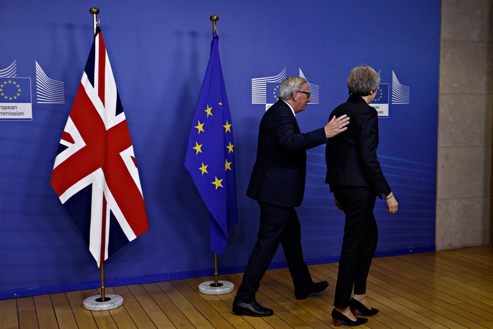Brussels, Belgium. 21st Nov 2018. Meeting between Prime Minister of the United Kingdom Theresa May and European Commission President Jean-Claude Juncker at the EU Commission headquarters