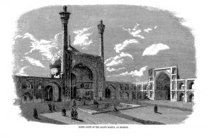Inner court of the grand mosque, at Isphan, 1857, published in the The Illustrated London News on 10 January 1857 (volume 30, no. 839, page 21). SOAS University of London, Archives and Special Collections, MCA/01/03/07 (SOAS Archives reference number) MCA/E/7 ( Collector's reference )