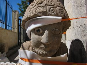Statue of post-Hittite king Suppiluliuma, fresh from excavation in 2012 by the Tayınat Archaeological Project (University of Toronto). The back carries a hieroglyphic inscription that was deciphered at SOAS. Photo © Jennifer Jackson