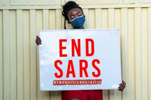 END SARS sign - a protest against police corruption in Nigeria
