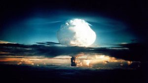 Mushroom cloud to illustrate the dangers of nuclear weapons