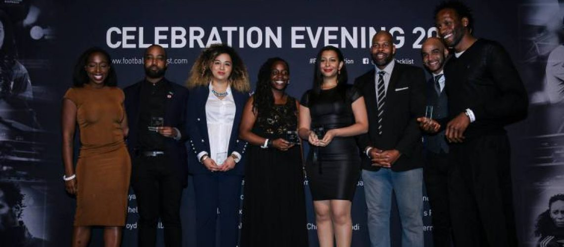 Hayley Bennett (3rd from left) is honoured as a Rising Star in Sport , and 'One to Watch' by KickitOut, football's equality and inclusivity campaign.