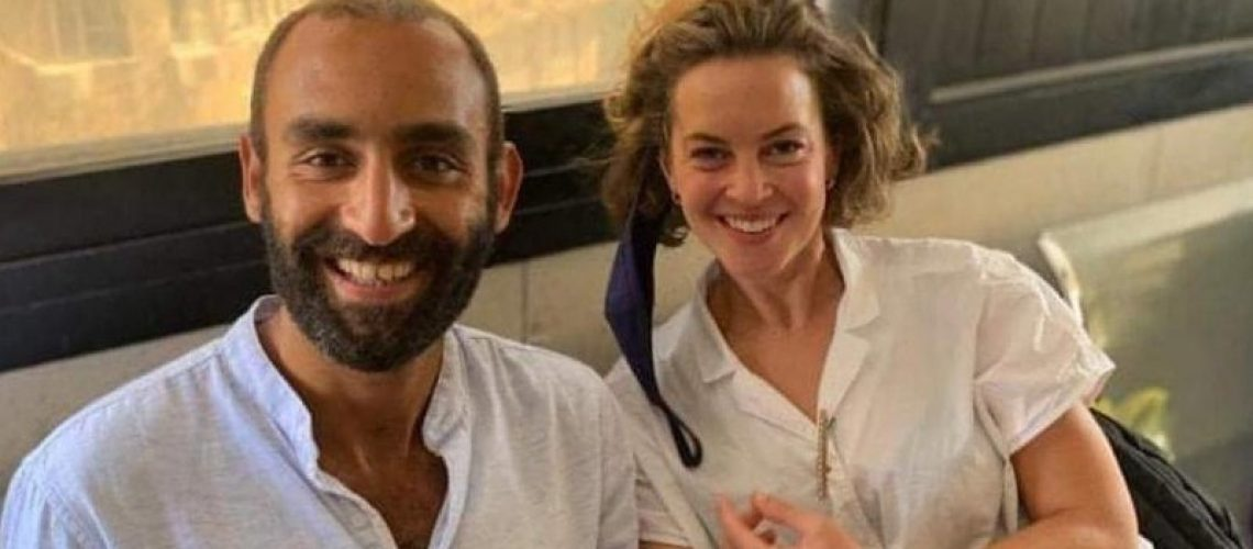 Photo of Karim Ennarah and his partner Jessica Kelly - Karim is one of the three Egyptian activists released this weekend