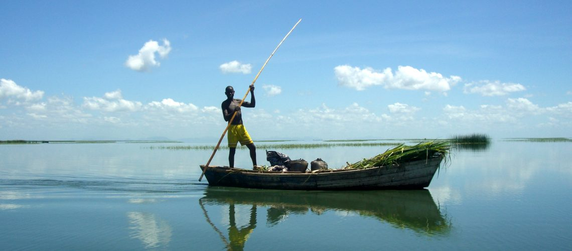 'Boat Trader' presents a trader who is travelling with renewed stock from Mapila town  to open waters and floating neighborhoods. The wood that he is carrying will be sold to fish processors and fishers who dry and smoke their fish on floating 'zimbowera' islands. He also carries with him maize flour, which he plans to sell to fishers and processors who live on these 'zimbowera' islands for several weeks at a time. He has already traveled two hours from the shore and his movement now is becoming easier in open water. He appears happy, perhaps because of this increasing ease of movement, but also because he is proud of his healthy looking stock ready for sale, something he was happy to explain to me 'the white researcher with a camera  Taken on February 22, 2012 with a Casio EX-Z1000