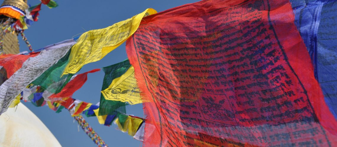 Boudhanath, Kathmandu, Nepal  Colourful prayerflags all over Bhoudhanath hung up by local monks and visitors from all over the world.