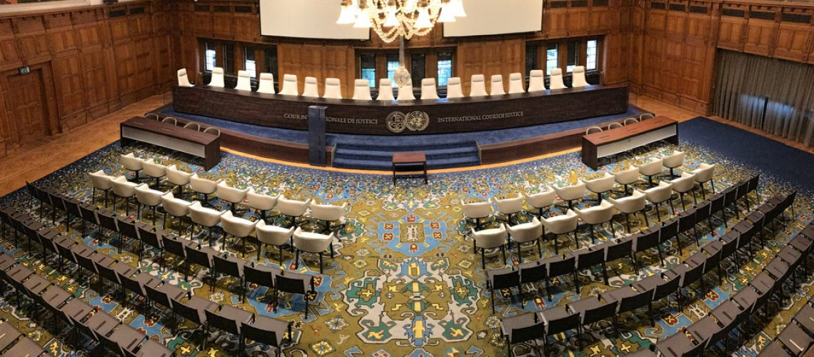 Panorama of the International Court of Justice court room, principal judicial organ of the United Nations located at The Hague